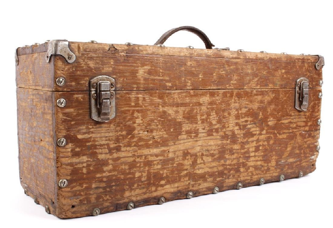 Antique Wooden Loaded Tackle Box - 3