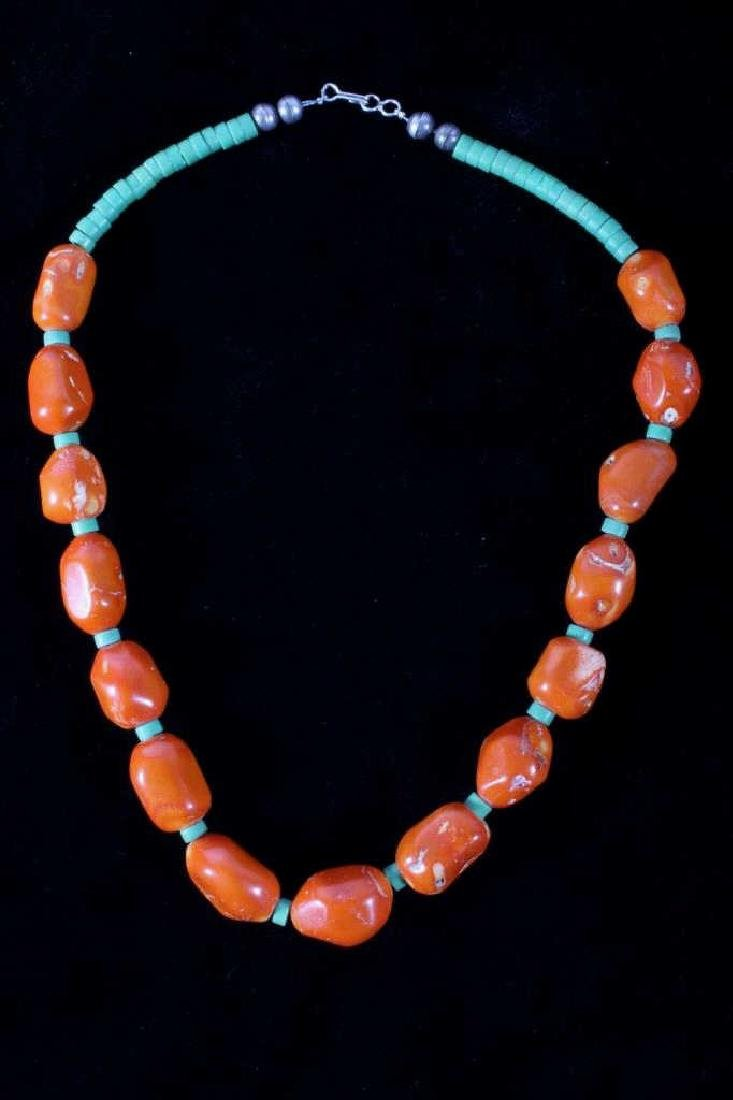 Navajo Hubbell Bamboo Coral Nugget Necklace