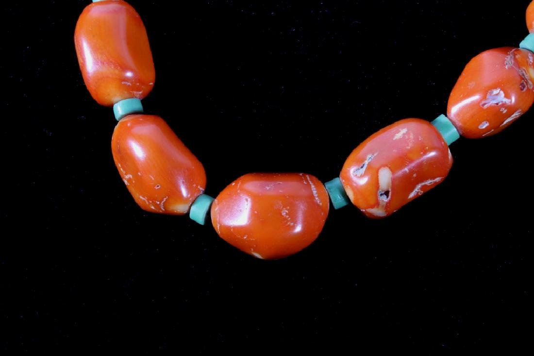Navajo Hubbell Bamboo Coral Nugget Necklace - 2