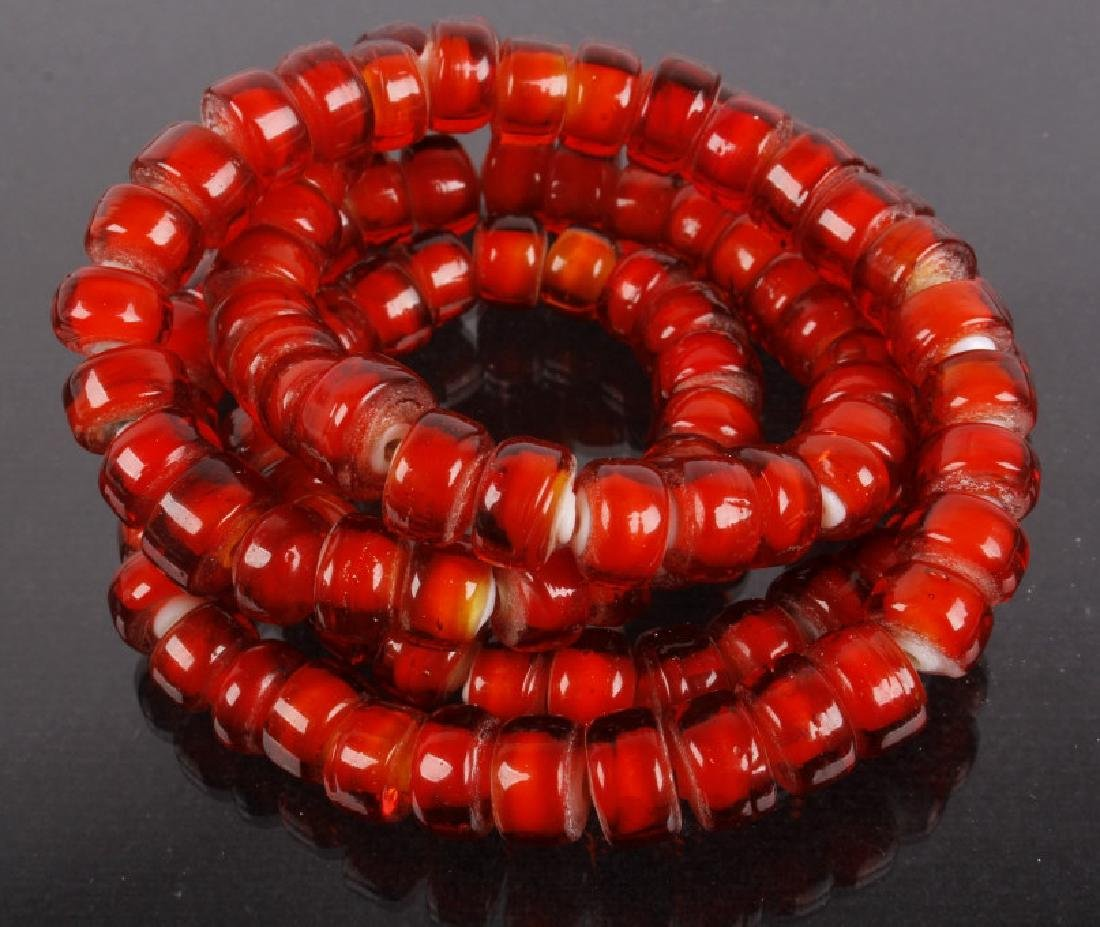 Hudson Bay Red White Heart Trade Bead Necklace - 2