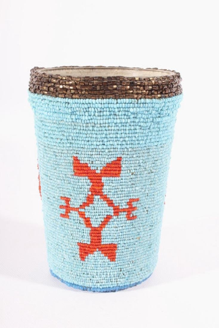 Early Beaded Sioux Trade Bead Cup