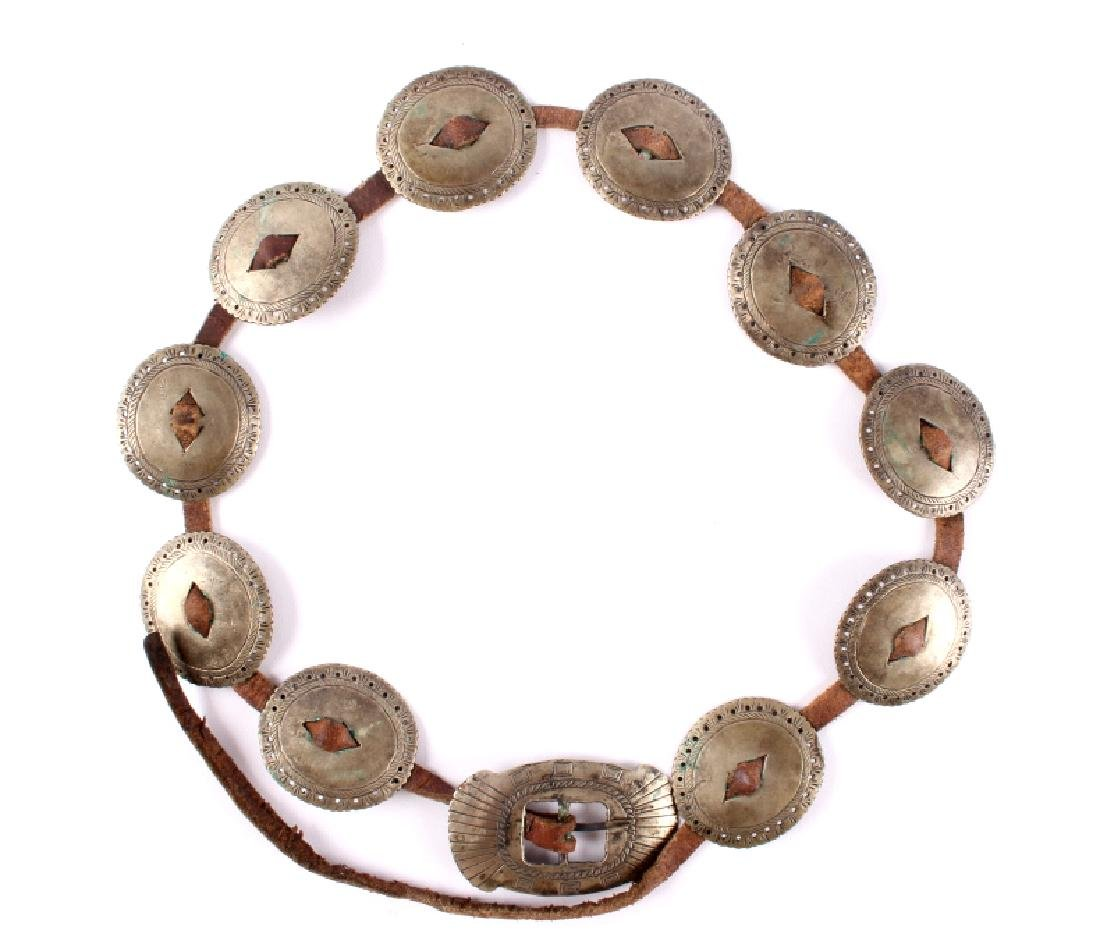 Navajo First Phase Revival Silver Concho Belt - 7