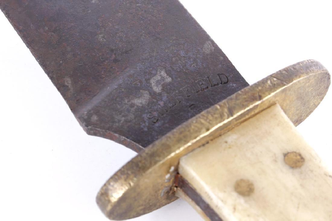 Plains Bone, Brass, and Beaded Sheath Bowie Knife - 7