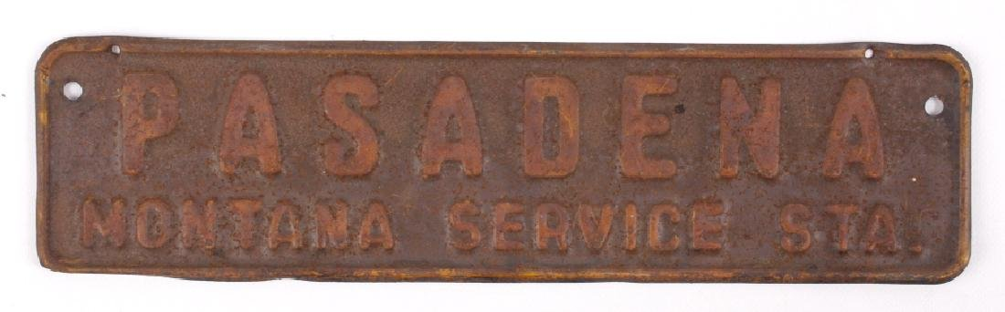 Antique Pasadena Montana Service Station Sign