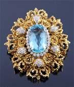18K Gold Diamond Aquamarine Brooch