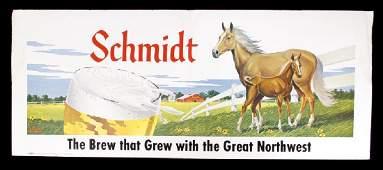 Schmidt Beer Cardboard Lithograph Advertising Sign