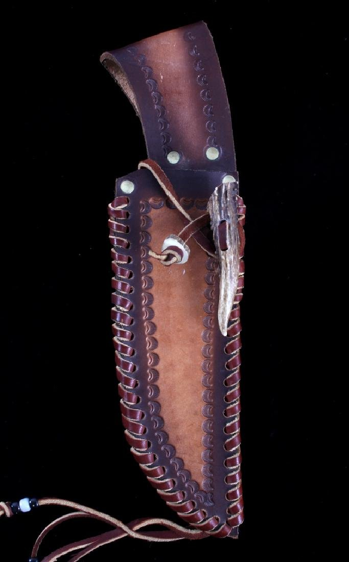 Bob Schopp Custom Bowie Knife w/ Leather Scabbard - 13