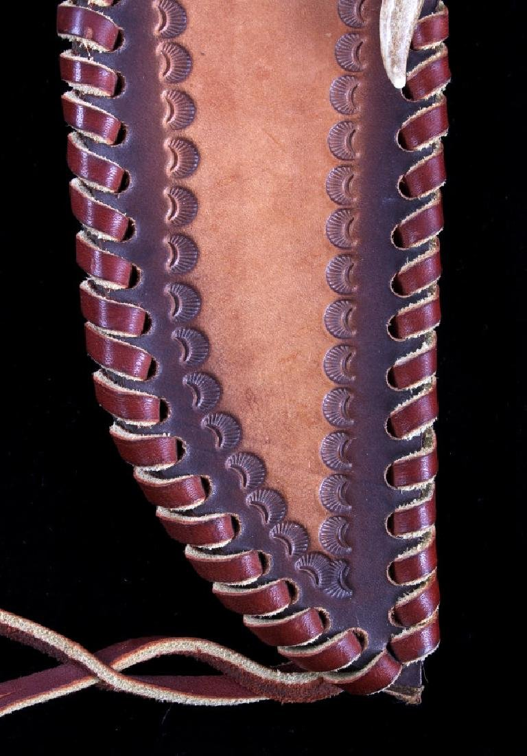Bob Schopp Custom Bowie Knife w/ Leather Scabbard - 15