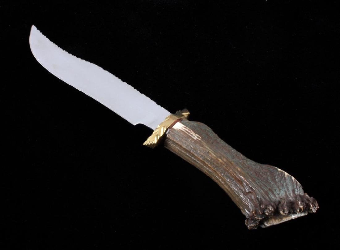Bob Schopp Custom Bowie Knife w/ Leather Scabbard - 4