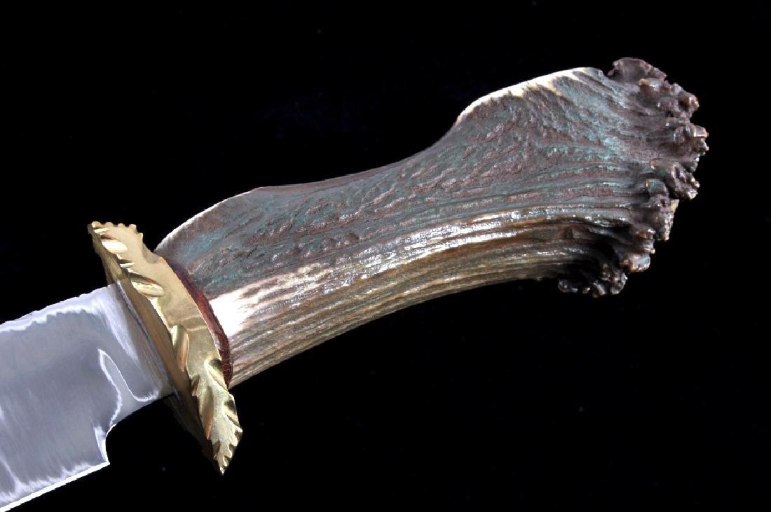 Bob Schopp Custom Bowie Knife w/ Leather Scabbard - 8