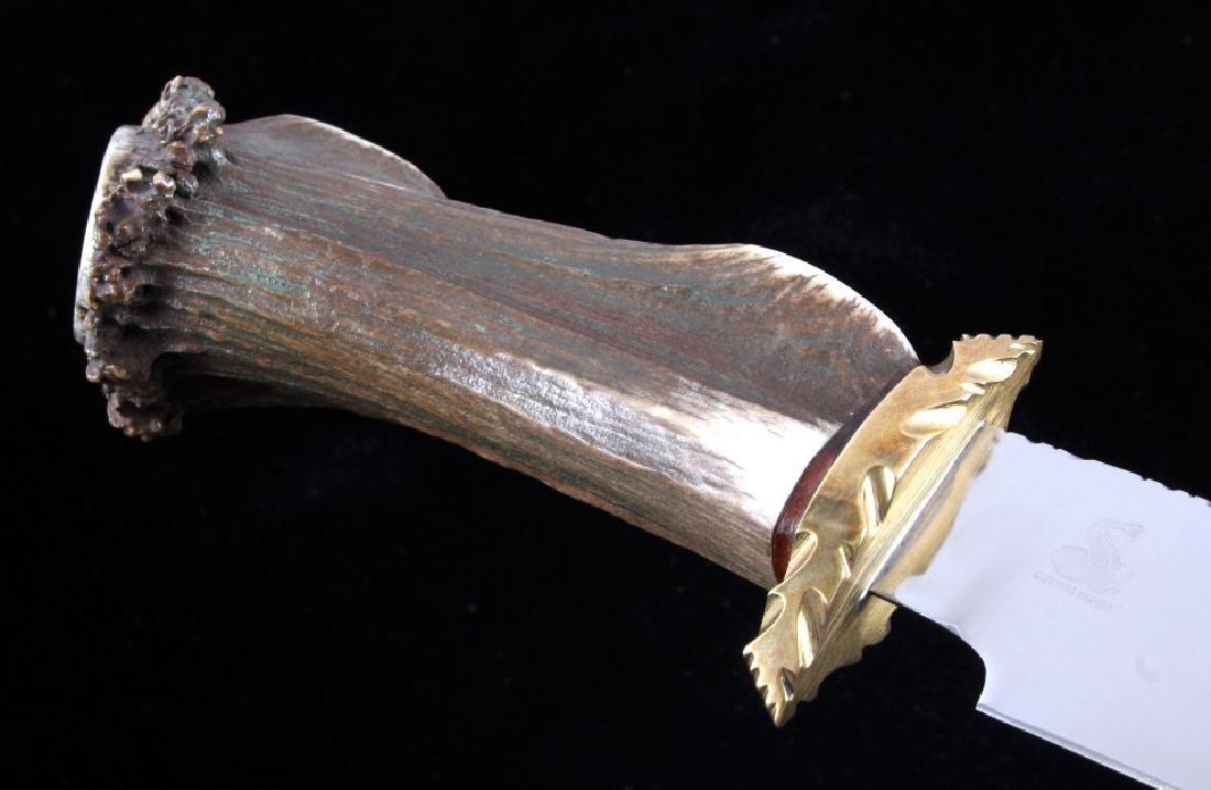 Bob Schopp Custom Bowie Knife w/ Leather Scabbard - 9
