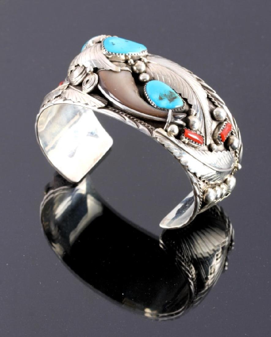 Navajo Sterling Silver Turquoise Bear Claw Cuff