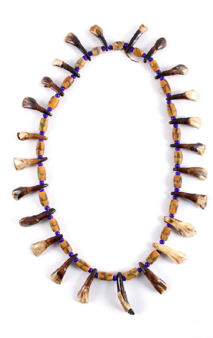 Plains Indian Petrified Buffalo Teeth Necklace