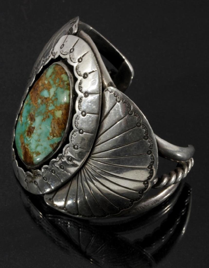 Navajo Sterling Silver & Royston Turquoise Cuff - 2