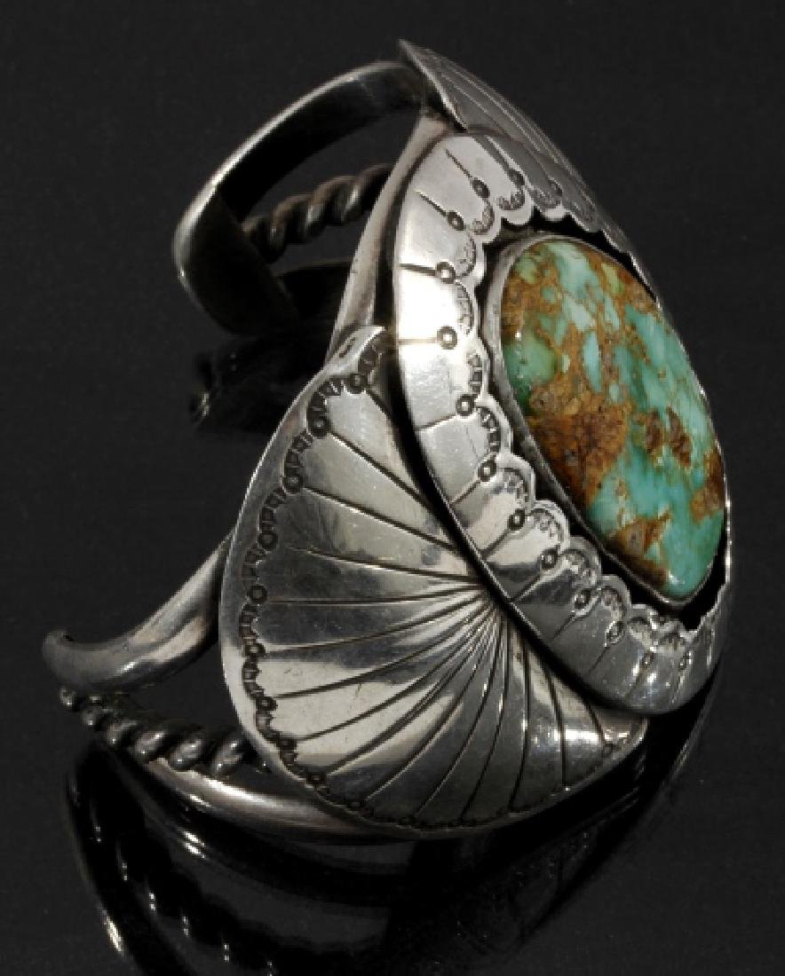 Navajo Sterling Silver & Royston Turquoise Cuff - 3