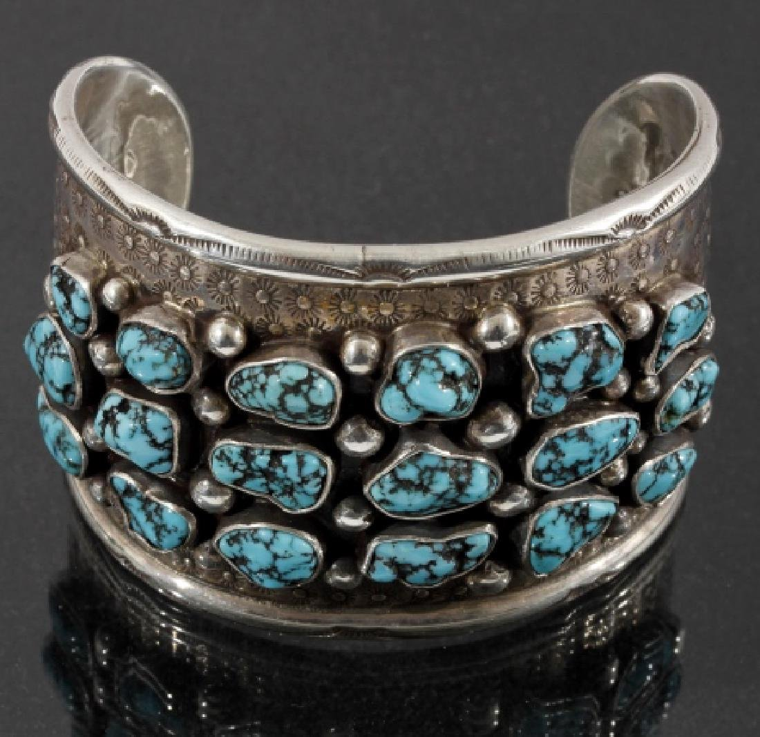 Navajo Hand Tooled Sterling & Turquoise Cuff