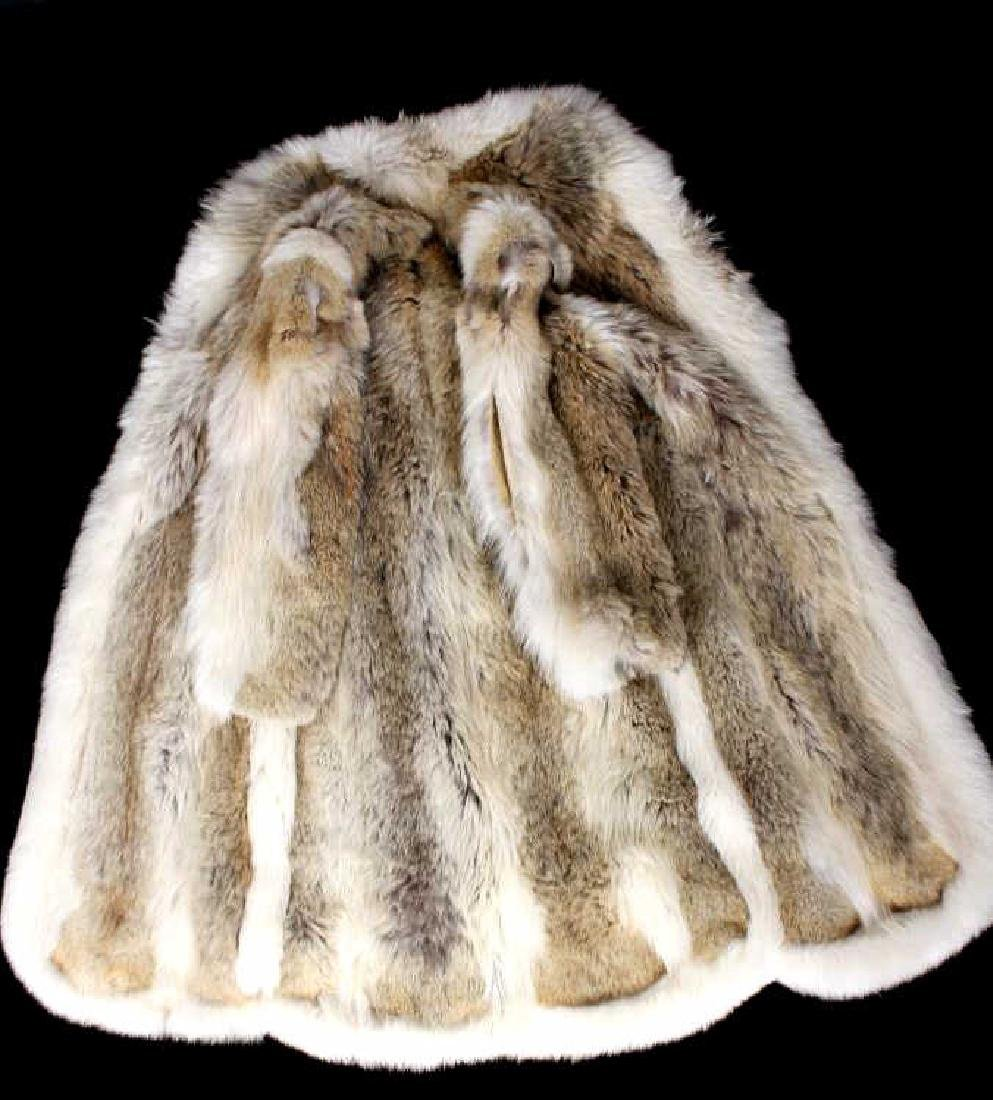 Full Length Grey Wolf Fur Coat With White Fox Trim - 9