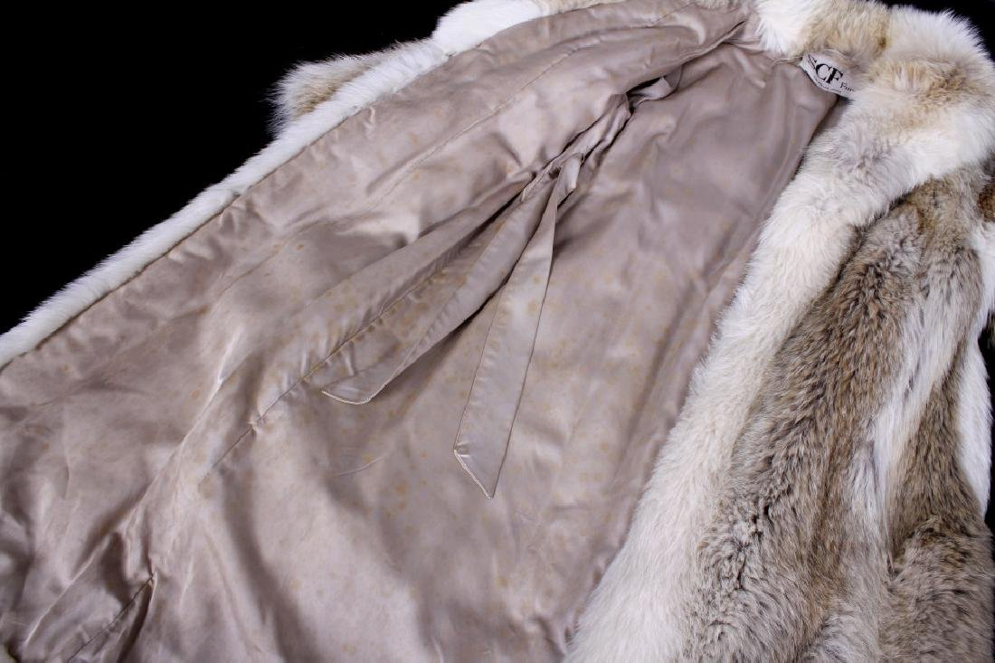 Full Length Grey Wolf Fur Coat With White Fox Trim - 7