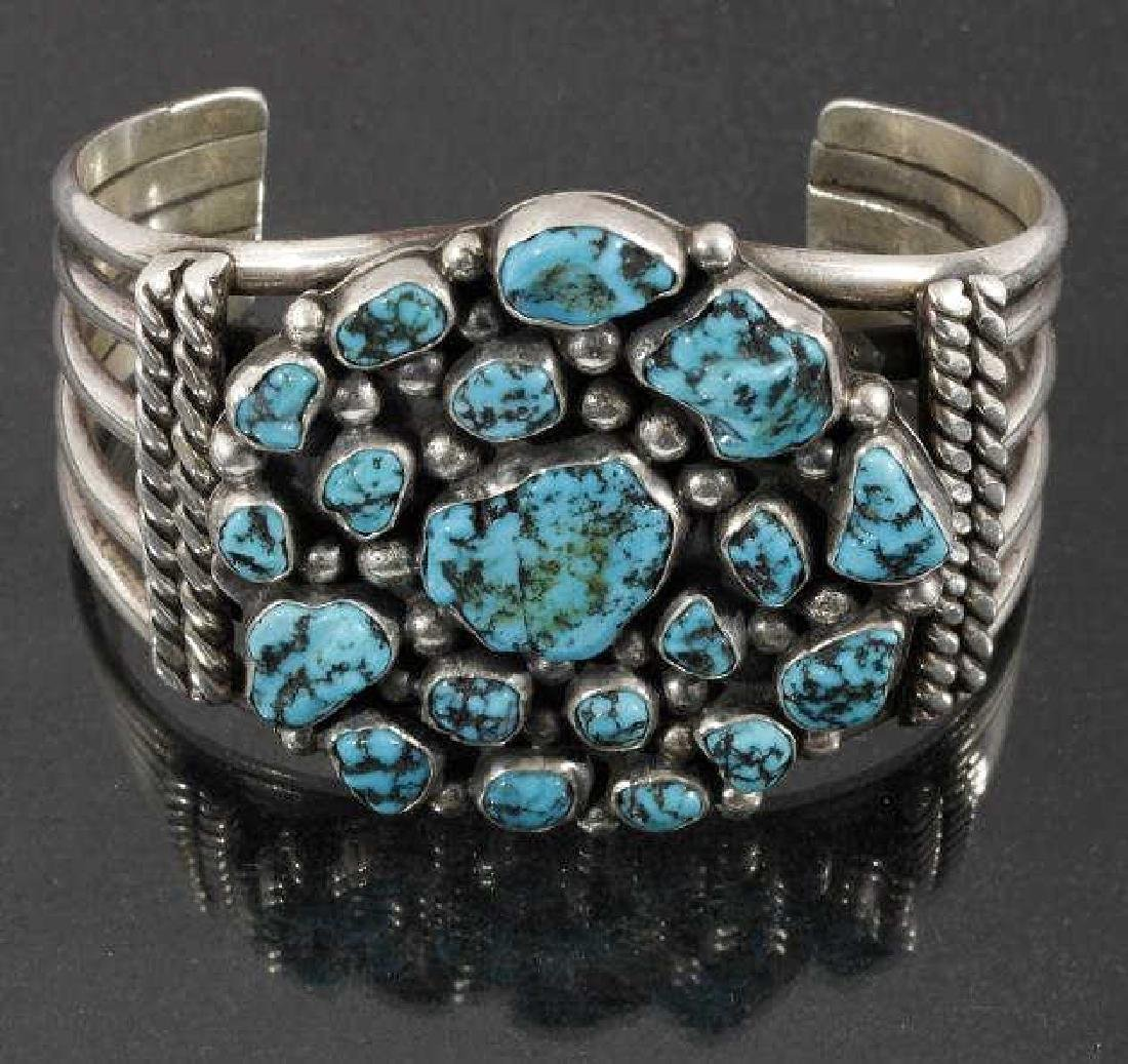 Navajo Sterling Silver & Turquoise Cluster Cuff