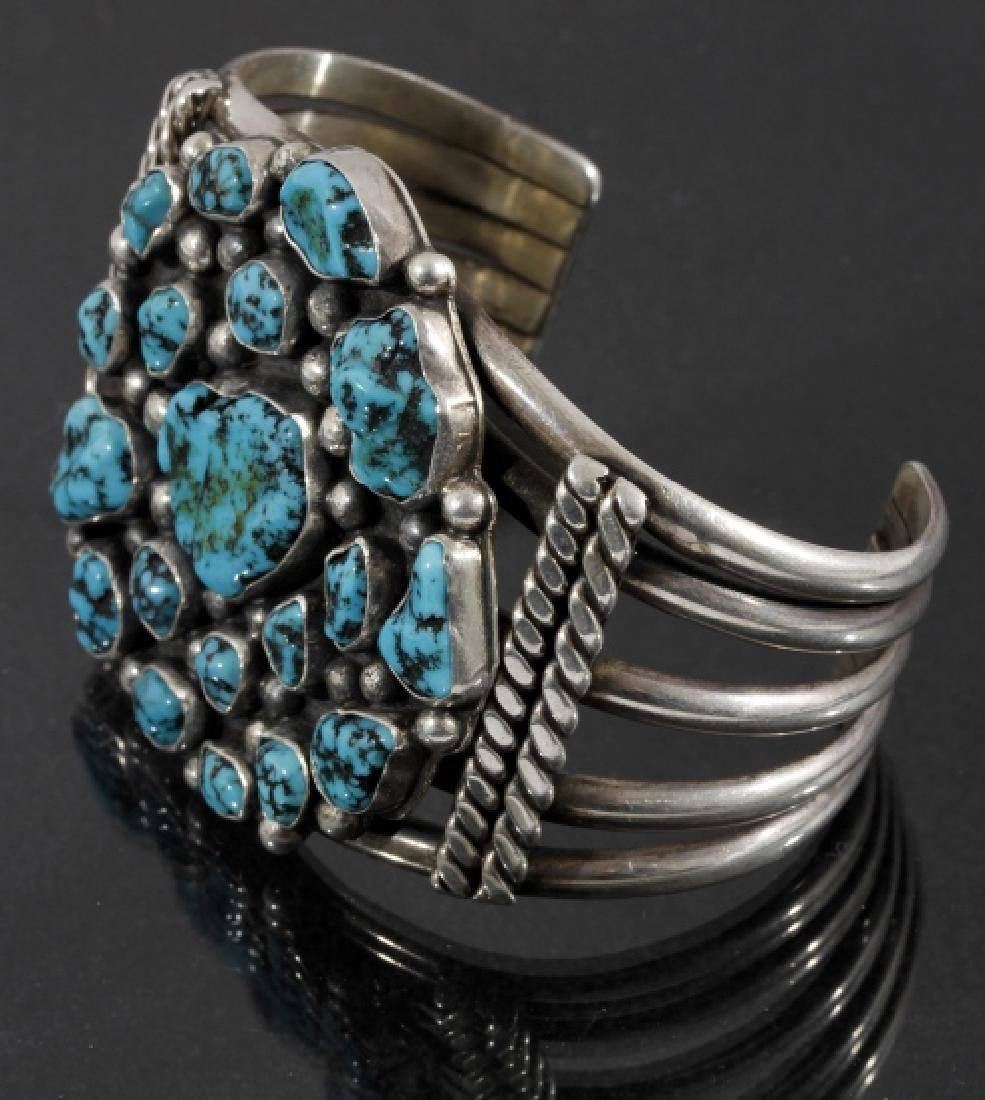 Navajo Sterling Silver & Turquoise Cluster Cuff - 2