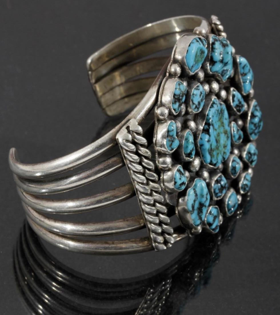 Navajo Sterling Silver & Turquoise Cluster Cuff - 3