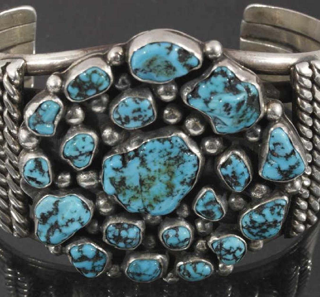 Navajo Sterling Silver & Turquoise Cluster Cuff - 4