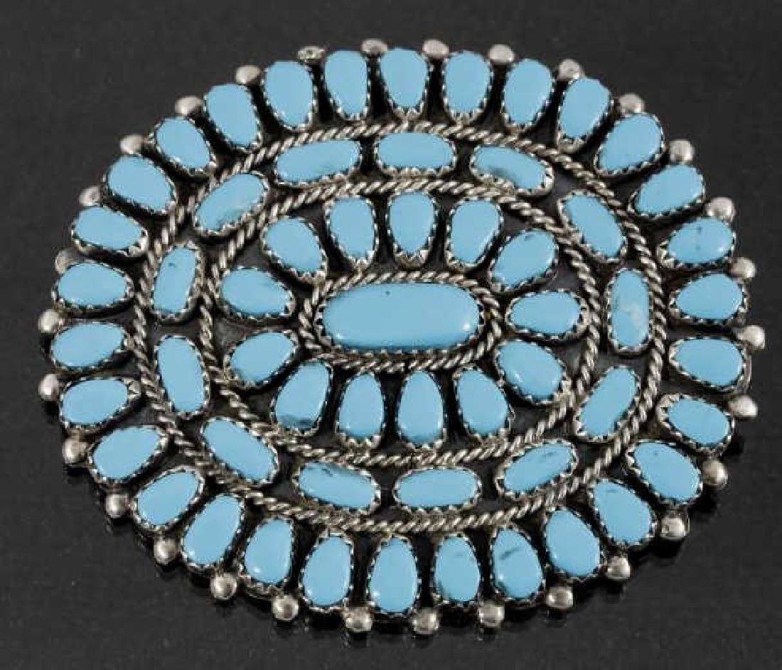Navajo Petite Point Turquoise & Silver Brooch Pin