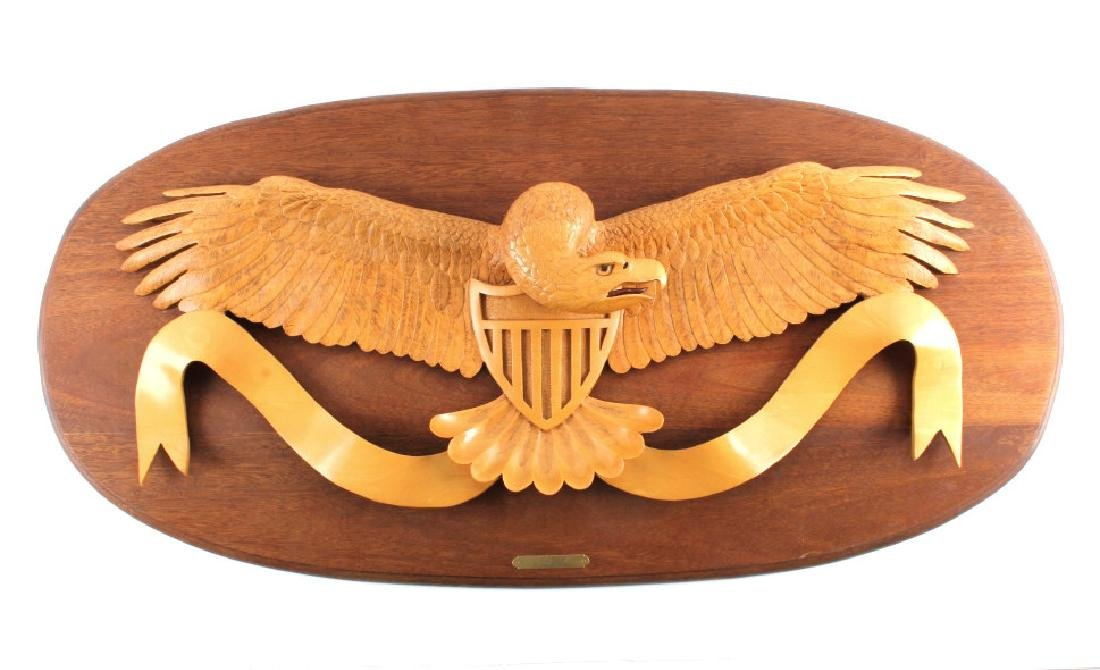 Carved Wooden Eagle and Shield Coat of Arms