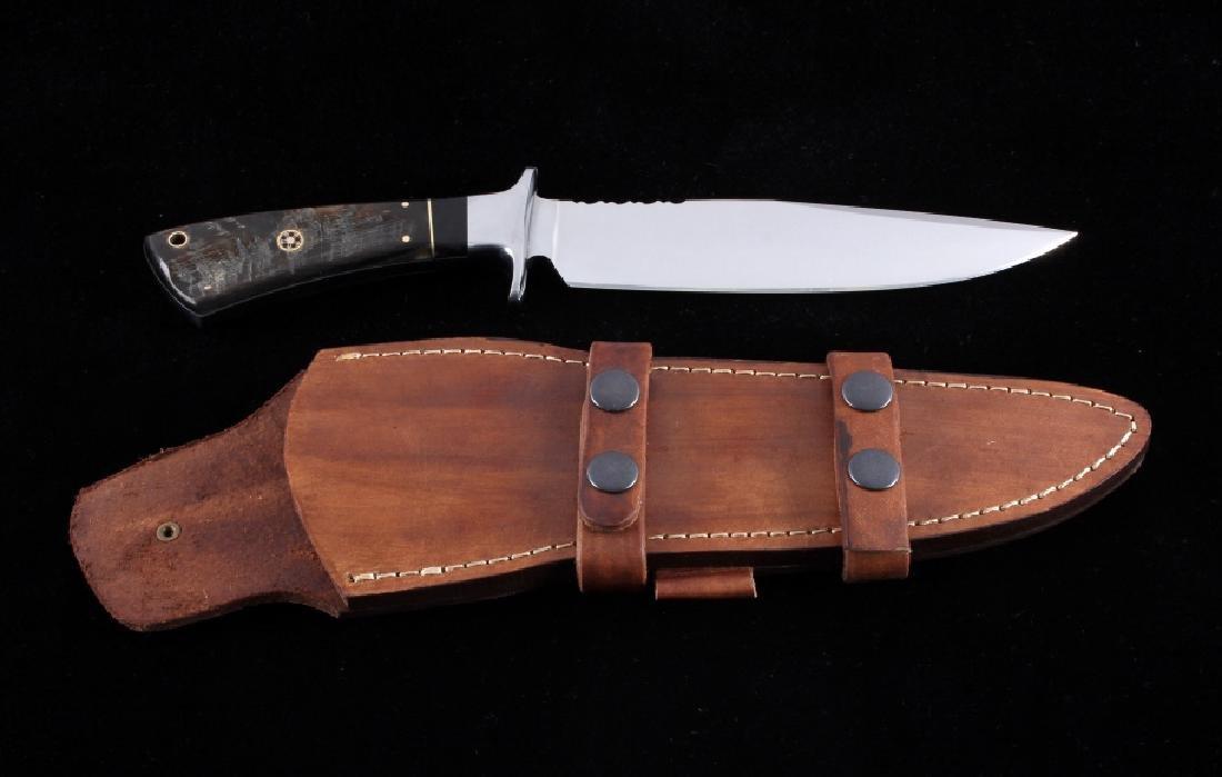CFK Custom Ram's Horn Bowie Knife w/ Scabbard