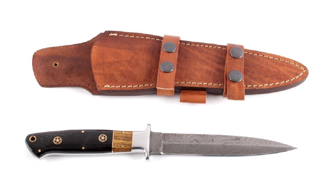 CFK Damascus Buffalo Horn Dagger w/ Scabbard