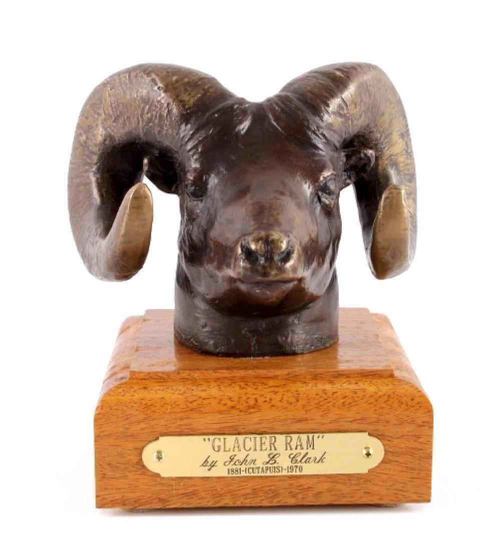 Original John L. Clarke Glacier Ram Bronze Montana