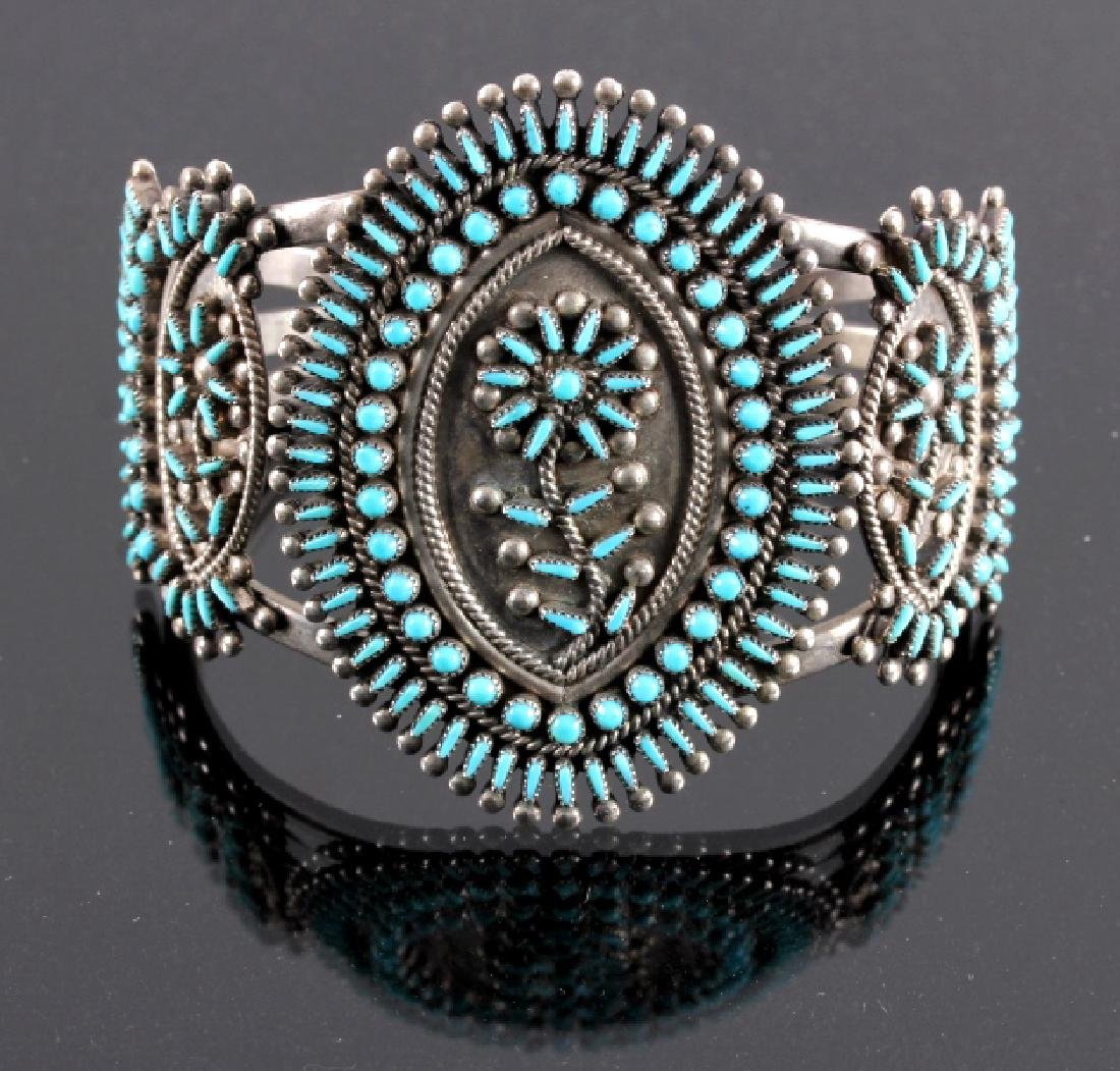 Zuni Sterling Petit Point Turquoise Bracelet Cuff