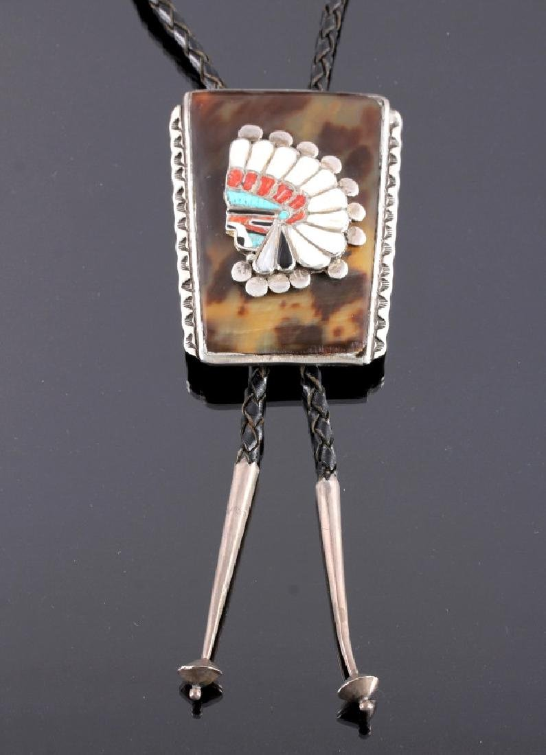 Navajo Sterling Silver Tortoise Shell Bolo Tie