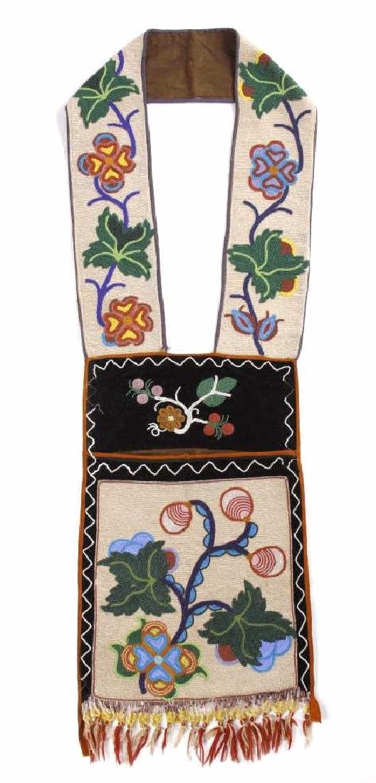 Chippewa Fully Beaded Bandolier Bag c. 1870