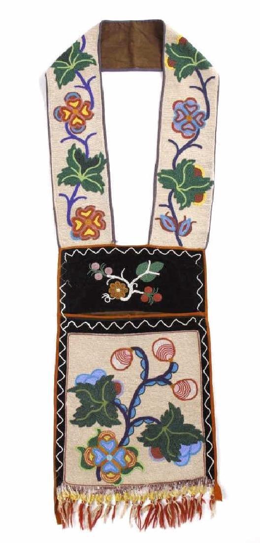 Chippewa Fully Beaded Bandolier Bag c. 1870