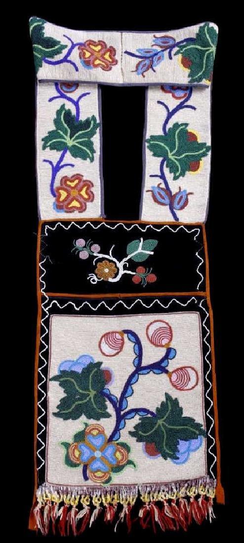 Chippewa Fully Beaded Bandolier Bag c. 1870 - 2