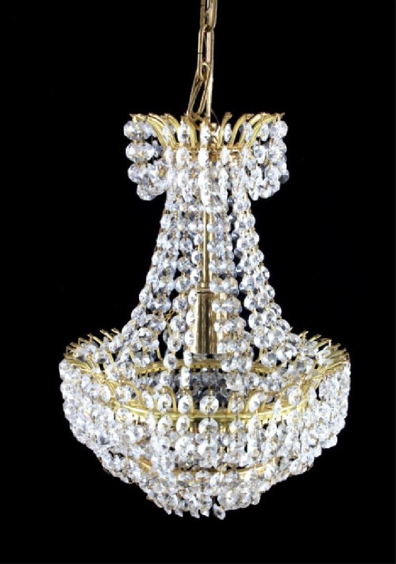 Swarovski Crystal and Brass Chandelier