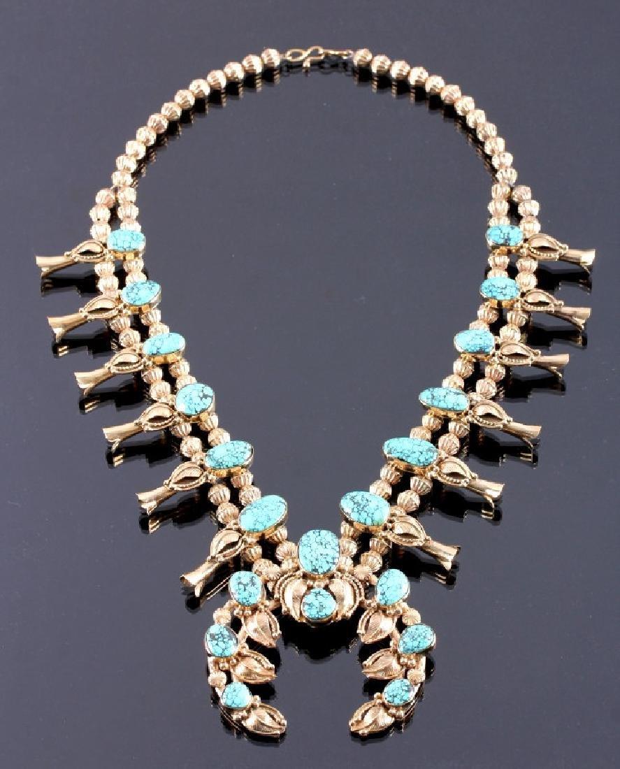 Navajo 14K Gold Turquoise Squash Blossom