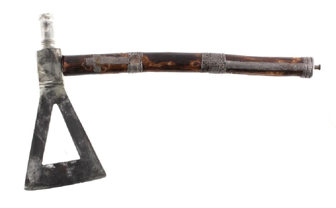 Blackfoot Pewter Inlaid Pipe Tomahawk c. 1880-1890 - 4