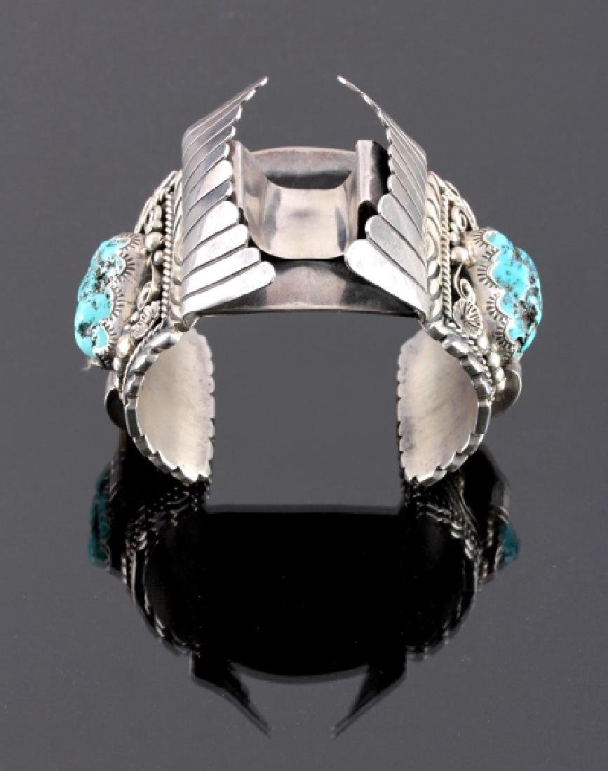 Navajo Sterling Silver Turquoise Claw Watch Cuff