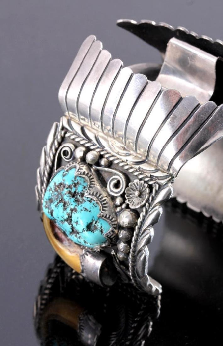 Navajo Sterling Silver Turquoise Claw Watch Cuff - 2