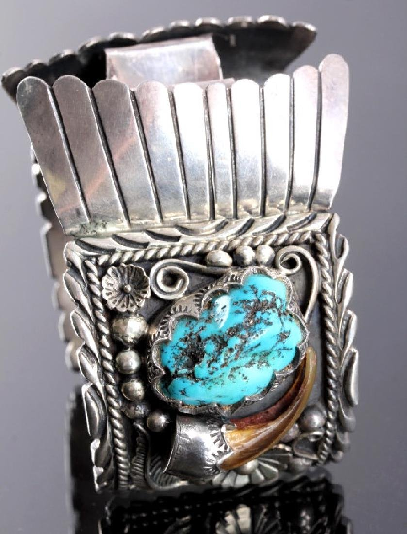 Navajo Sterling Silver Turquoise Claw Watch Cuff - 3