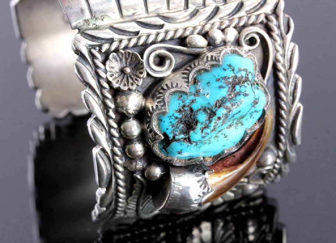 Navajo Sterling Silver Turquoise Claw Watch Cuff - 4