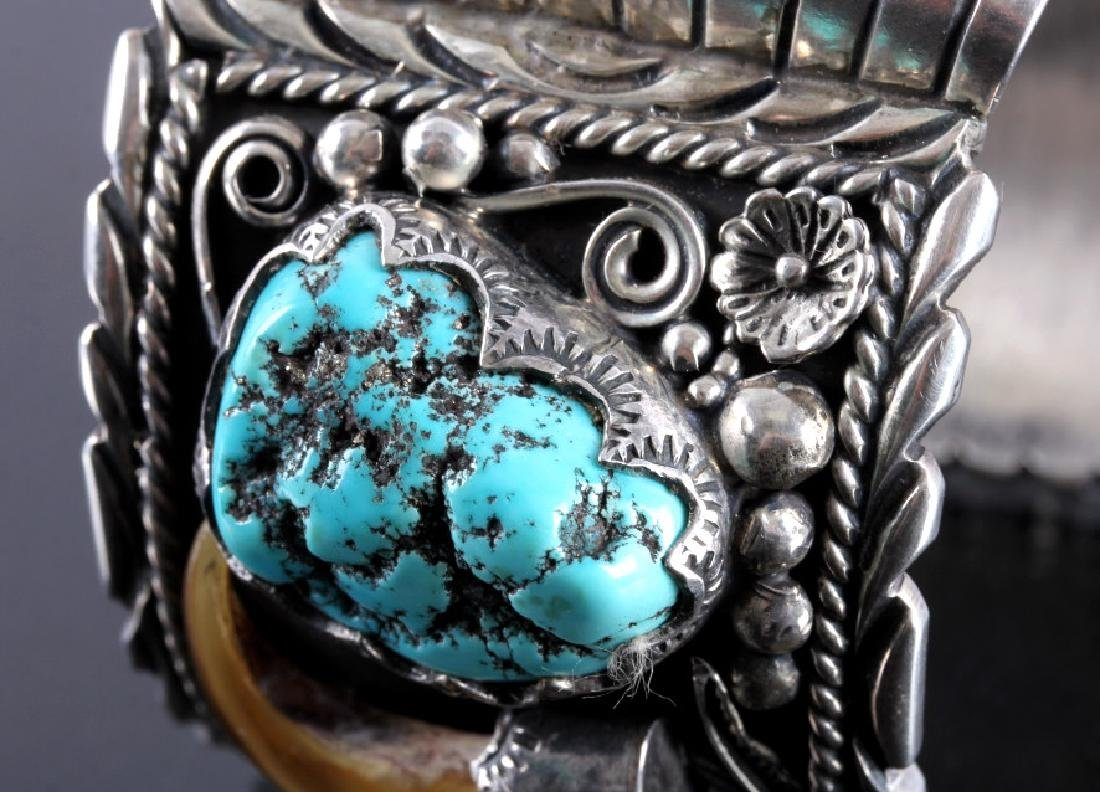 Navajo Sterling Silver Turquoise Claw Watch Cuff - 5