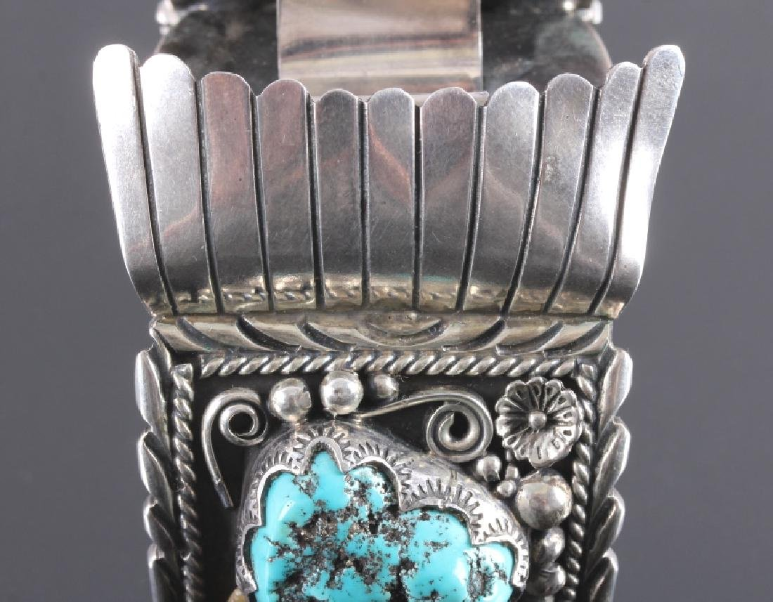 Navajo Sterling Silver Turquoise Claw Watch Cuff - 6