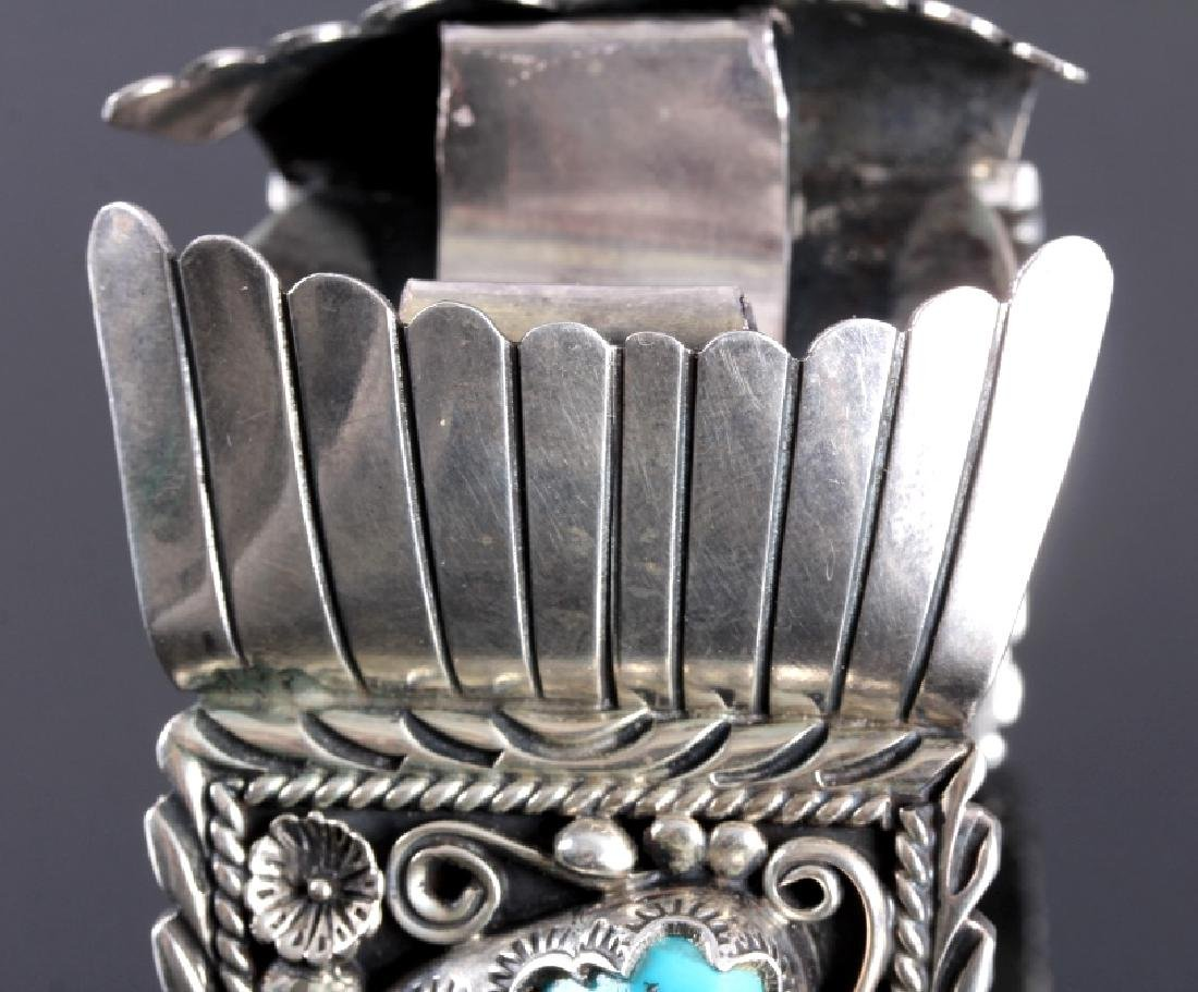Navajo Sterling Silver Turquoise Claw Watch Cuff - 7