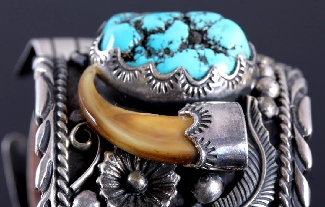 Navajo Sterling Silver Turquoise Claw Watch Cuff - 9