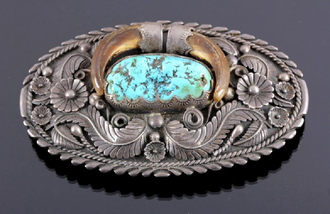 Navajo Old Pawn Silver Claw Belt Buckle c. 1900