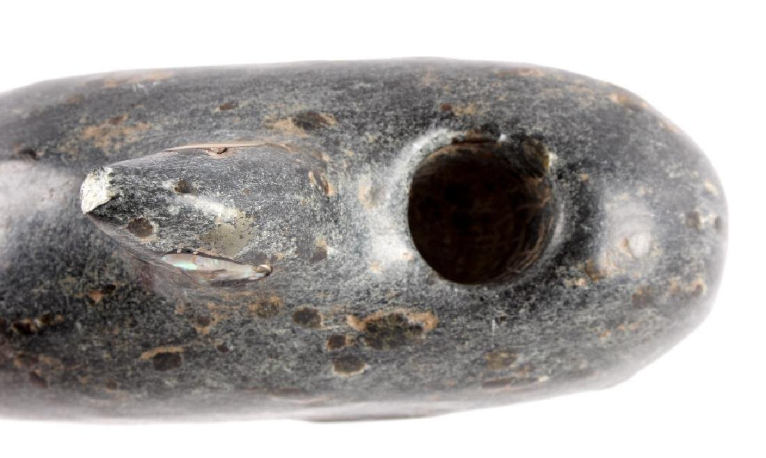 Chumash Indian Steatite Killer Whale Effigy Pipe - 9