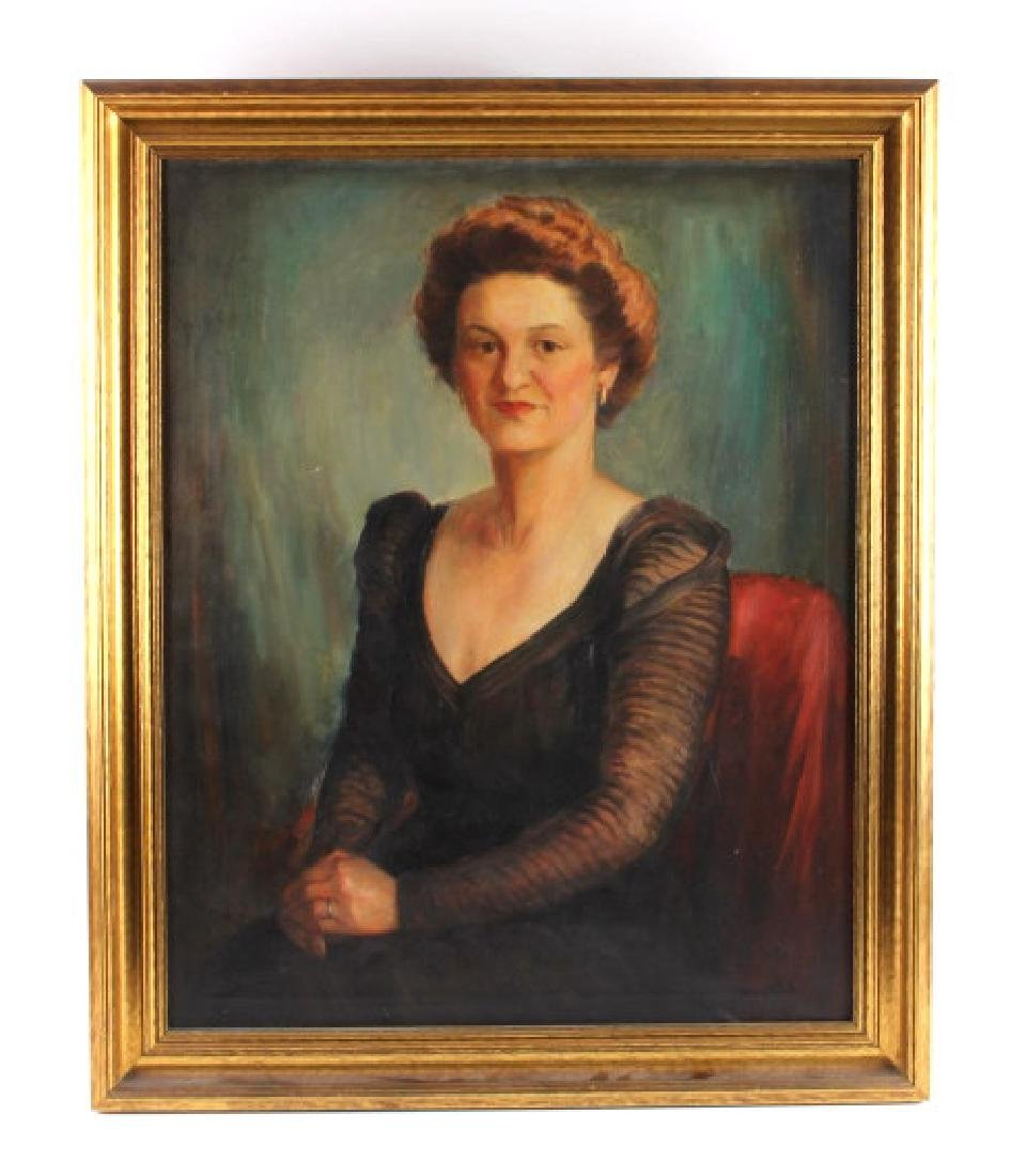 Antique Framed Portrait Oil Painting